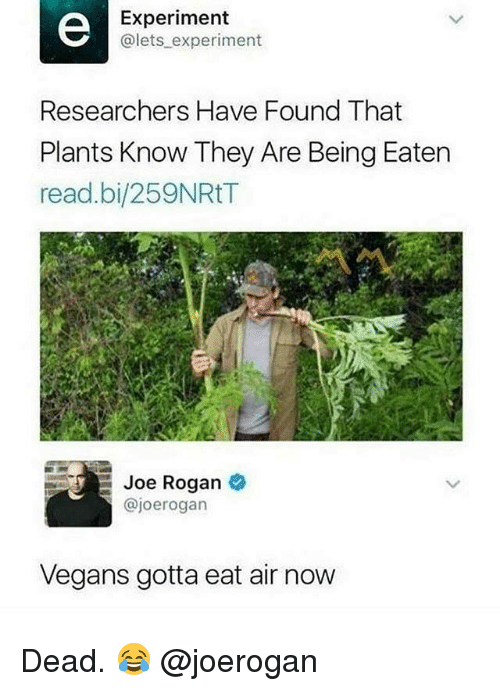 Gym, Joe Rogan, and Air: Experiment  @lets experiment  Researchers Have Found That  Plants Know They Are Being Eaten  read.bi/259NRtT  Joe Rogan  @joerogarn  Vegans gotta eat air now Dead. 😂 @joerogan