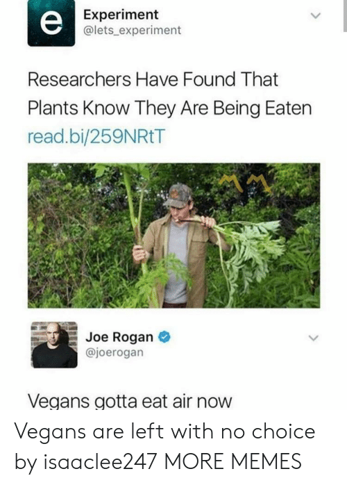 Dank, Joe Rogan, and Memes: Experiment  @lets_ experiment  Researchers Have Found That  Plants Know They Are Being Eaten  read.bi/259NRtT  Joe Rogan  @joerogan  Vegans gotta eat air now Vegans are left with no choice by isaaclee247 MORE MEMES