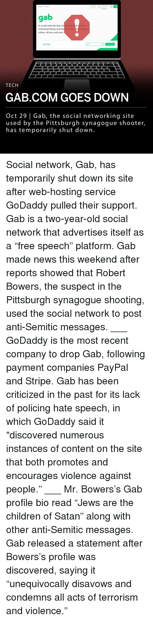 Gab social network temporarily shuts down after GoDaddy pulls support pics