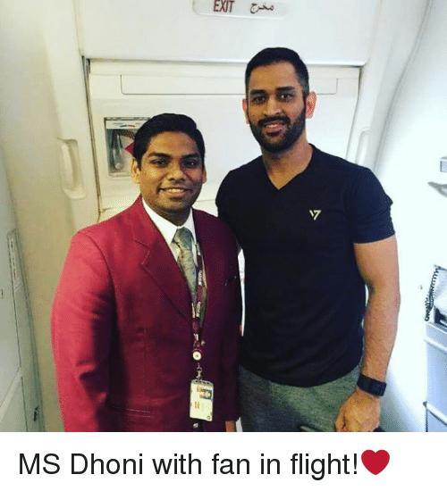 Memes, Flight, and 🤖: EXT MS Dhoni with fan in flight!❤