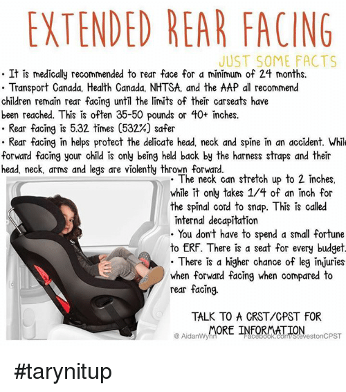 EXTENDED REAR FACING JUST SOME FACTS It Is Medically Recommended to ...