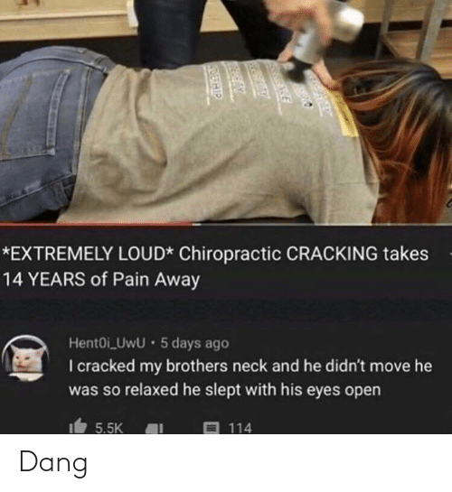Cracked, Pain, and Brothers: *EXTREMELY LOUD* Chiropractic CRACKING takes  14 YEARS of Pain Away  HentOi_UwU · 5 days ago  I cracked my brothers neck and he didn't move he  was so relaxed he slept with his eyes open  目 114  5.5K  DERHIP Dang