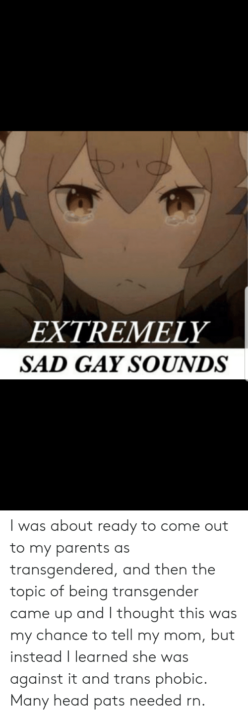 Head, Parents, and Transgender: EXTREMELY  SAD GAY SOUNDS I was about ready to come out to my parents as transgendered, and then the topic of being transgender came up and I thought this was my chance to tell my mom, but instead I learned she was against it and trans phobic. Many head pats needed rn.