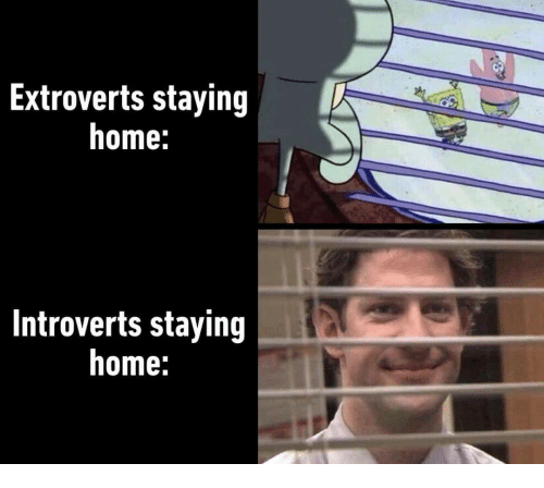 Home, Introverts, and Staying Home: Extroverts staying  home:  Introverts staying  home: