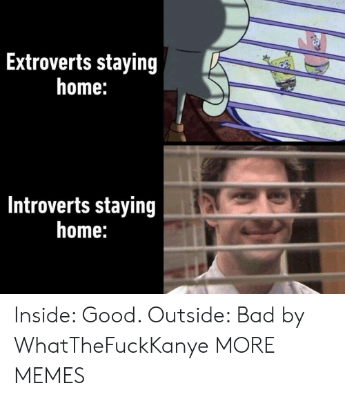 Bad, Dank, and Memes: Extroverts staying  home:  Introverts staying  home: Inside: Good. Outside: Bad by WhatTheFuckKanye MORE MEMES