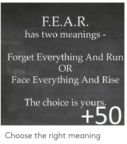 Run, Meaning, and Face: FΕ.Α.R.  has two meanings-  Forget Everything And Run  OR  Face Everything And Rise  The choice is yours.  +50 Choose the right meaning