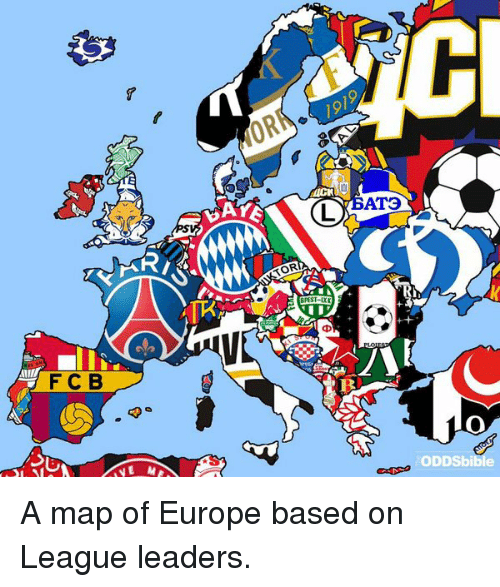 F C B AYE TOR AT ODDSbibie A Map Of Europe Based On League - Maps soccer