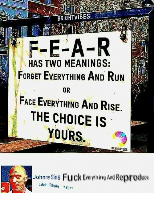 Run, Fuck, and Johnny Sins: F-E-A-R  HAS TWO MEANINGS:  FORGET EVERYTHING AND Run  FACE EVERYTHING AND RisE.  THE CHOICE IS  YOURS  OR  BRGHTVIBES  Johnny Sins Fuck Everything And Reproduo  Like Reply 16n