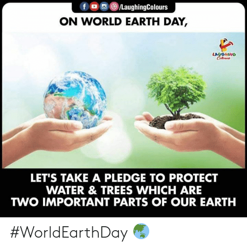 Earth, Earth Day, and Trees: f (e)/LaughingColours  ON WORLD EARTH DAY,  LAUGHING  LET'S TAKE A PLEDGE TO PROTECT  WATER & TREES WHICH ARE  TWO IMPORTANT PARTS OF OUR EARTH #WorldEarthDay 🌏