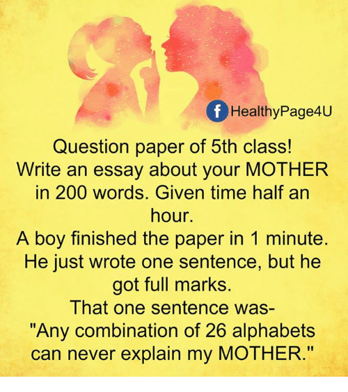 F Healthy Page4u Question Paper of 5th Class! Write an Essay About