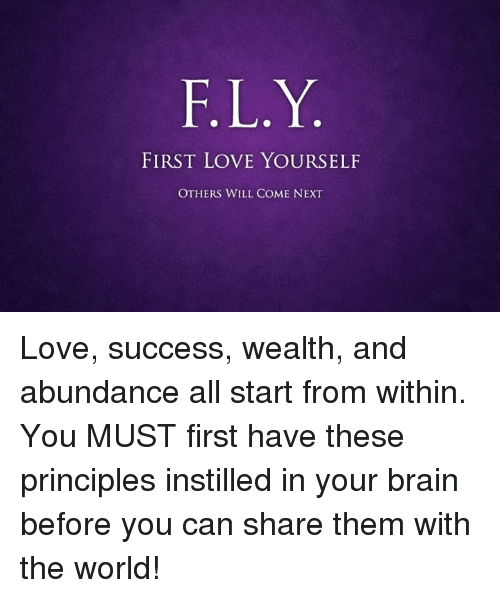 Fly First Love Yourself Others Will Come Next Love Success Wealth And Abundance All Start From Within You Must First Have These Principles Instilled In Your Brain Before You Can Share Them