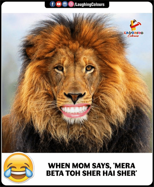 Indianpeoplefacebook, Mom, and Beta: f LaughingColours  LAUGHING  Colours  WHEN MOM SAYS, 'MERA  BETA TOH SHER HAI SHER