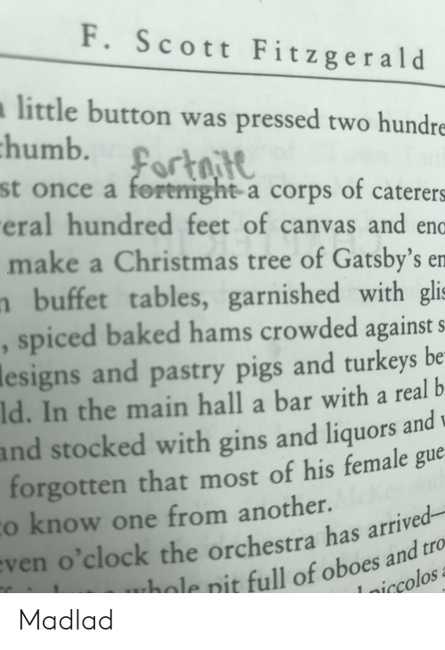 Baked, Christmas, and Canvas: F. Scott Fitzgerald  little button was pressed two hundre  st once a foremight a corps of caterers  eral hundred feet of canvas and endo  make a Christmas tree of Gatsby's en  n buffet tables, garnished with gli  , spiced baked hams crowded against s  lesigns and pastry pigs and turkeys be  Id. In the main hall a bar with a real b  and stocked with gins and liquors andw  forgotten that most of his female gue  o know one from another.  d-  o'clock the orchestra has arrive  e nit full of oboes and tro  iccolos  ven Madlad