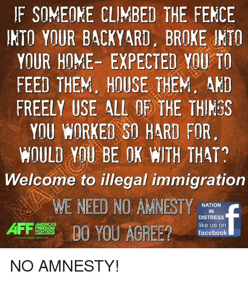 Climbing, Memes, and Immigration: F SOMEONE CLIMBED THE FENCE  INTO YOUR BACKYARD. BROKE JNTO  YOUR HOME- EXPECTED YAU TO  FEED THEM, HOUSE THEM. AND  FREELY USE ALL THE THINGS  YOU WORKED SO HARD FOR  WOULD YOU BE OK WITH THAT?  Welcome to illegal immigration  WE NEED NO AMNESTY  NATION  IN  DISTRESS  like us on  DO YOU AGREE?  FREEDOM  FIGHTERS  facebook NO AMNESTY!