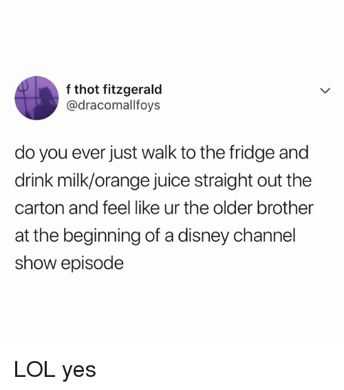 Disney, Juice, and Lol: f thot fitzgerald  @dracomallfoys  do you ever just walk to the fridge and  drink milk/orange juice straight out the  carton and feel like ur the older brother  at the beginning of a disney channel  show episode LOL yes