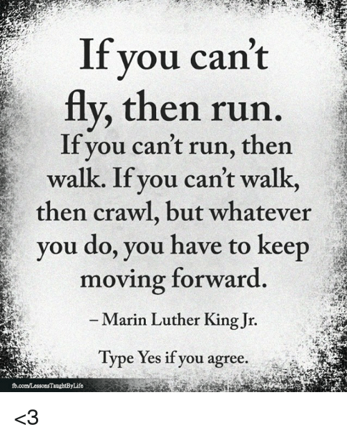 Memes, Run, and 🤖: f you cant  fly, then run.  If you can't run, then  walk. If you can't walk,  then crawl, but whatever  you do, you have to keep  moving forward  Marin Luther King Jir.  Type Yes if you agree. <3