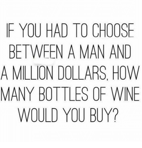 Memes, Wine, and 🤖: F YOU HAD TO CHOOSE  BETWEEN A MAN AND  A MILLION DOLLARS, HOW  MANY BOTTLES OF WINE  WOULD YOU BUY?