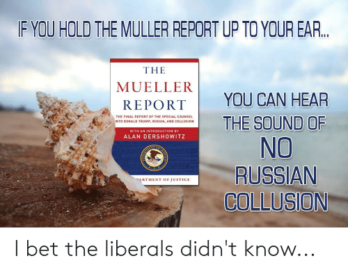 Donald Trump, I Bet, and Justice: F YOU HOLD THE MULLER REPORT UP TO YOUR EAR...  THE  MUELLER  YOU CAN HEAR  THE SOUND OF  No  RUSSIAN  COLLUSION  REPORT  THE FINAL REPORT OF THE SPECIAL COUNSEL  INTO DONALD TRUMP, RUSSIA, AND COLLUSION  WITH AN INTRODUCTION BY  ALAN DERSHOWITZ  RTMENT OF JUSTICE I bet the liberals didn't know...