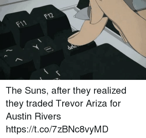 Sports, Trevor Ariza, and Austin: F11  F12 The Suns, after they realized they traded Trevor Ariza for Austin Rivers https://t.co/7zBNc8vyMD