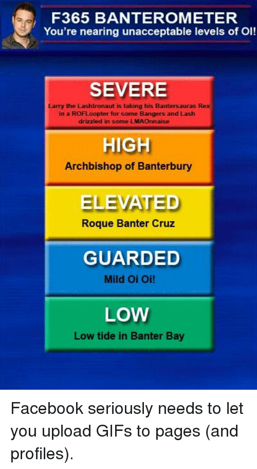 Facebook, Gif, and Lmao: F365 BANTEROMETER  You're nearing unacceptable levels of OI!  SEVERE  Lamy the Lashtronaut is taking his Bantersauras Rex  in a ROFLcopter for some Bangers and Lash  drizzled in some LMAO  HIGH  Archbishop of Banterbury  ELEVATED  Roque Banter Cruz  GUARDED  Mild Oi Oi!  LOW  Low tide in Banter Bay Facebook seriously needs to let you upload GIFs to pages (and profiles).