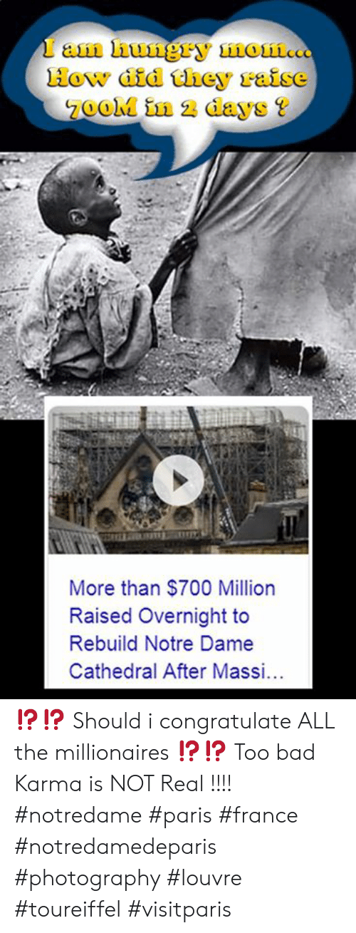 Bad, Memes, and France: faan nungry non...  How did they raise  7ooM in 2 days?  More than $700 Million  Raised Overnight to  Rebuild Notre Dame  Cathedral After Mass ⁉️⁉️ Should i congratulate ALL  the millionaires ⁉️⁉️   Too bad Karma is NOT Real !!!!  #notredame #paris #france #notredamedeparis #photography #louvre #toureiffel #visitparis