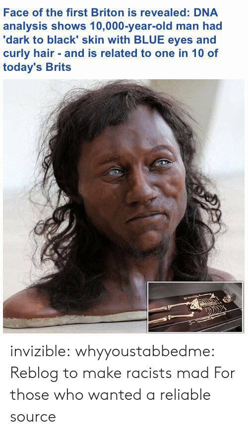 Old Man, Tumblr, and Black: Face of the first Briton is revealed: DNA  analysis shows 10,000-year-old man had  'dark to black' skin with BLUE eyes and  curly hair and is related to one in 10 of  today's Brits invizible:  whyyoustabbedme: Reblog to make racists mad  For those who wanted a reliable source