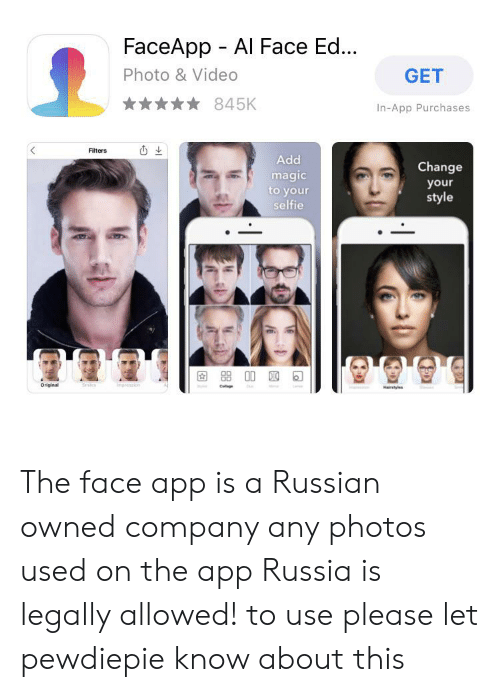 FaceApp Al Face Ed Photo & Video GET 845K In-App Purchases Filters