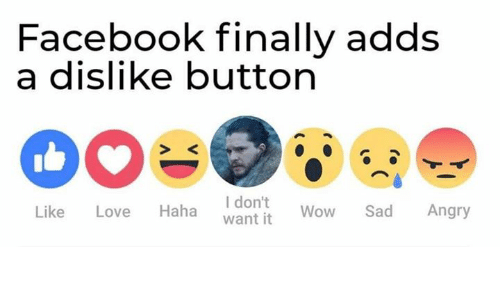 Facebook, Game of Thrones, and Love: Facebook finally adds  a dislike button  I don't  want it  Haha  Sad  Angry  Like  Love  Wow