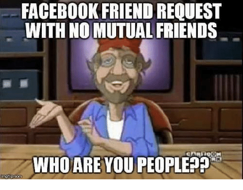 Facebook, Friends, and Girl Memes: FACEBOOK FRIEND REQUEST  WITH NO MUTUAL FRIENDS  WHO ARE YOU PEOPLE??