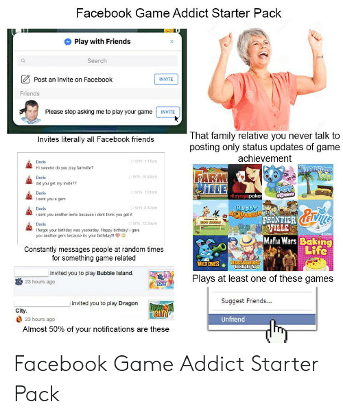 Facebook Game Addict Starter Pack Play With Friends Search Post an
