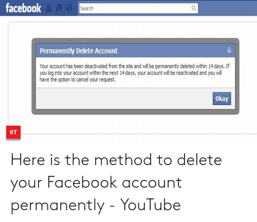 Facebook Search Permanently Delete Account Your Account Has