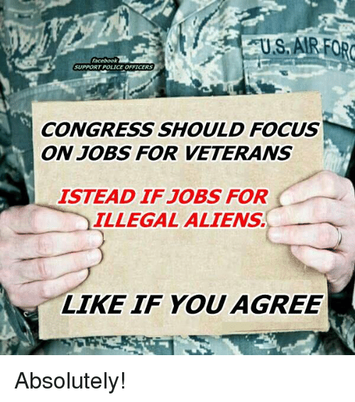 Memes, 🤖, and Congress: facebook  SUPPORT POLICE OFFICERS  CONGRESS SHOULD FOCUS  ON JOBS FOR VETERANS  ISTEAD IF JOBS FOR  ILLEGAL ALIENS.  LIKE IF YOU  AGREE Absolutely!
