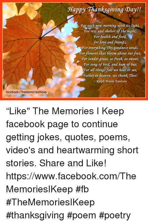 Facebookthememorieslkeep Happy Thanksgiving Day For Each New