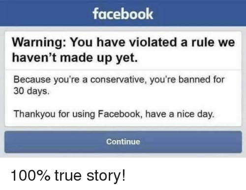 Facebook Warning You Have Violated a Rule We Haven't Made Up