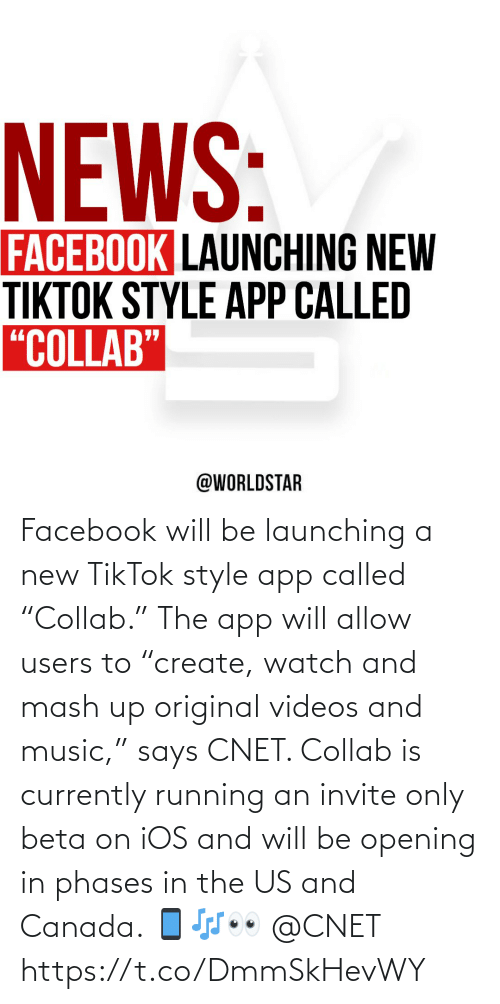 """Facebook, Music, and Videos: Facebook will be launching a new TikTok style app called """"Collab."""" The app will allow users to """"create, watch and mash up original videos and music,"""" says CNET. Collab is currently running an invite only beta on iOS and will be opening in phases in the US and Canada. 📱🎶👀 @CNET https://t.co/DmmSkHevWY"""