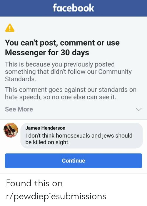Facebook You Can't Post Comment or Use Messenger for 30 Days