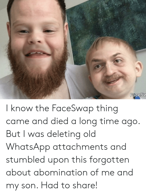 Whatsapp, Time, and Old: FacesW I know the FaceSwap thing came and died a long time ago. But I was deleting old WhatsApp attachments and stumbled upon this forgotten about abomination of me and my son. Had to share!