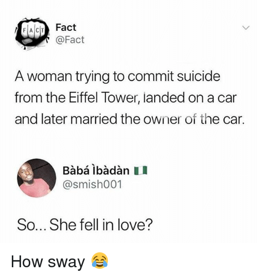 Love, Baba, and Eiffel Tower: FACITFact  @Fact  A woman trying to commit suicide  from the Eiffel Tower, landed on a car  and later married the owner of the car.  Bàbá ibàdàn I  @smishO01  So... She fell in love? How sway 😂