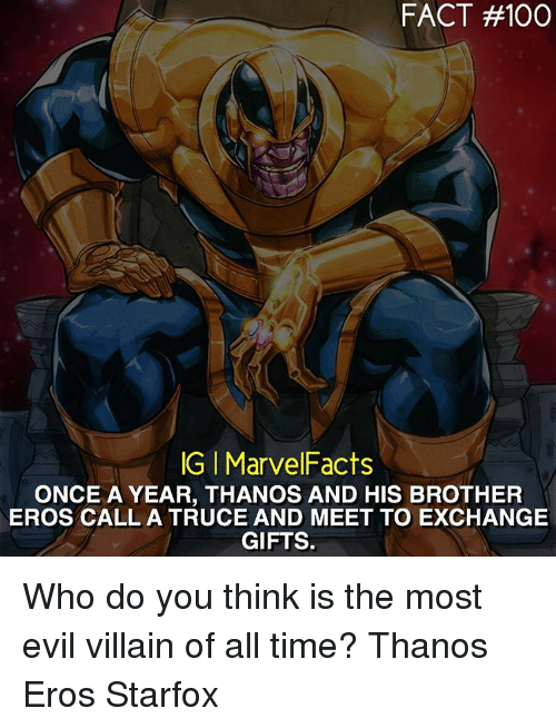 fact 100 igi marvelfacts once a year thanos and his brother eros