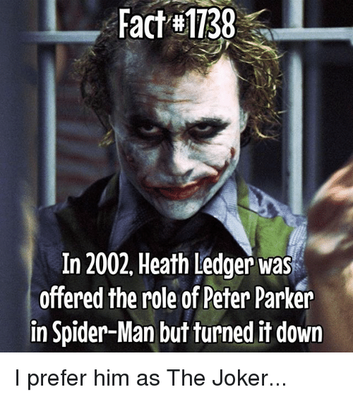 fact 1138 in 2002 heath ledger was soffered the role of peter