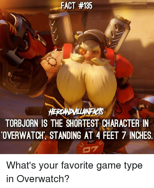 Memes, Game, and 7 Inches: FACT #135  TORBJORN IS THE SHORTEST CHARACTER IN  OVERWATCH' STANDING AT 4 FEET 7 INCHES What's your favorite game type in Overwatch?