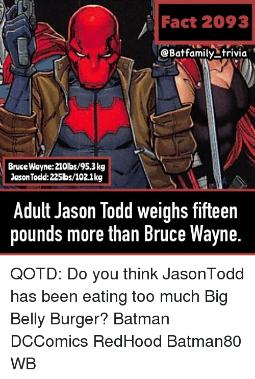 Batman, Memes, and Too Much: Fact 2093  @Batfamily-trivia  Bruce Wayne:210lbs/95.3kg  Jason Todd:225lbs/102.1kg  Adult Jason Todd weighs fifteen  pounds more than Bruce Wayne QOTD: Do you think JasonTodd has been eating too much Big Belly Burger? Batman DCComics RedHood Batman80 WB