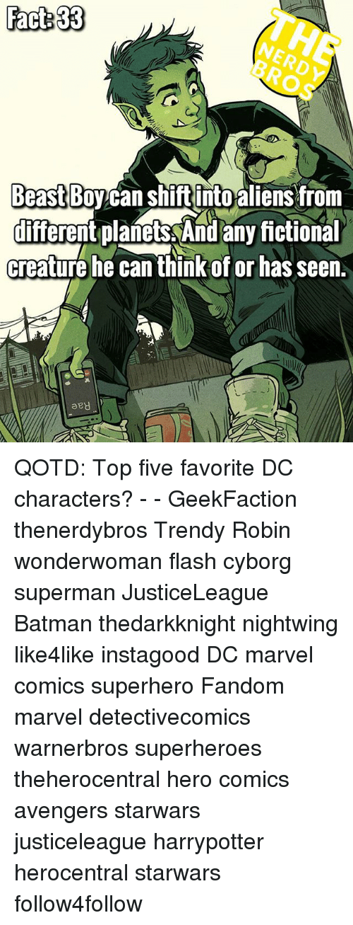 Batman, Marvel Comics, and Memes: Fact 33  NERDY  BROS  Beast Boy can Shiftinto aiensfrom  different planets And any ictional  creature he can think of or has seen.  diferent planets And any fictional  aey QOTD: Top five favorite DC characters? - - GeekFaction thenerdybros Trendy Robin wonderwoman flash cyborg superman JusticeLeague Batman thedarkknight nightwing like4like instagood DC marvel comics superhero Fandom marvel detectivecomics warnerbros superheroes theherocentral hero comics avengers starwars justiceleague harrypotter herocentral starwars follow4follow