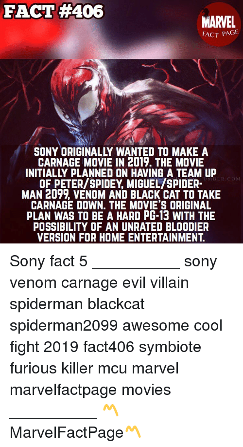 Fact 406 Marvel Fact Page Sony Originally Wanted To Make A Carnage