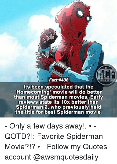 Best Spiderman Quotes Fact#438 Ts Been Speculated That the Homecoming' Movie Will Do  Best Spiderman Quotes