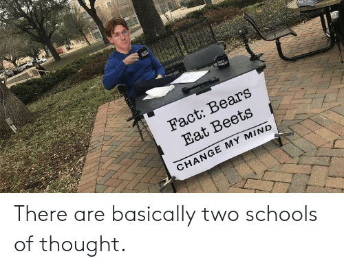 The Office, Bears, and Change: Fact: Bears  Eat Beets  CHANGE MY MIND There are basically two schools of thought.