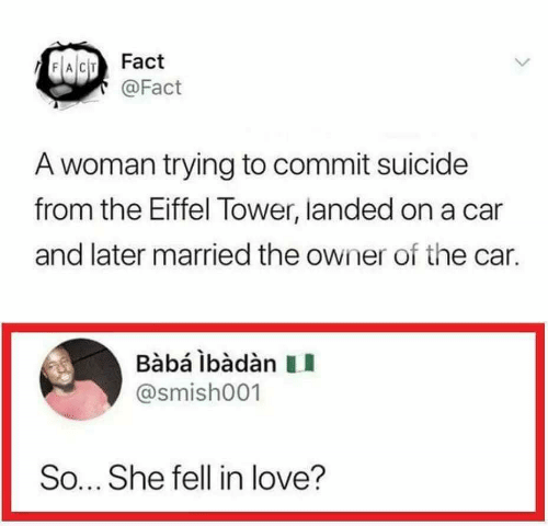 Love, Baba, and Eiffel Tower: FACT Fact  @Fact  A woman trying to commit suicide  from the Eiffel Tower, landed on a car  and later married the owner of the car.  Bàbá lbàdàn  @smish001  So... She fell in love?