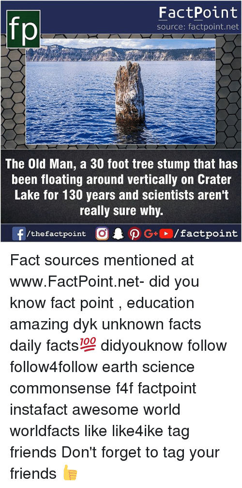 Facts, Friends, and Memes: FactPoint  source: factpoint.net  The Old Man, a 30 foot tree stump that has  been floating around vertically on Crater  Lake for 130 years and scientists aren't  really sure why.  f/thefactpoint G+/factpoint Fact sources mentioned at www.FactPoint.net- did you know fact point , education amazing dyk unknown facts daily facts💯 didyouknow follow follow4follow earth science commonsense f4f factpoint instafact awesome world worldfacts like like4ike tag friends Don't forget to tag your friends 👍
