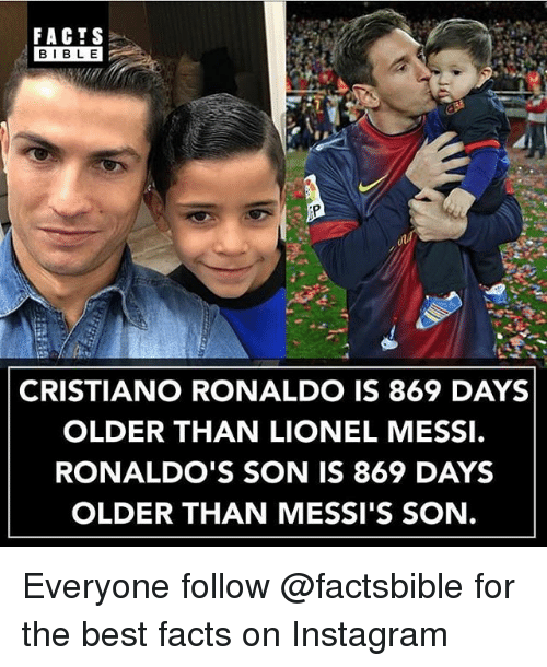 Cristiano Ronaldo, Facts, and Instagram: FACTS  BIBLE  BIBL E  CRISTIANO RONALDO IS 869 DAYS  OLDER THAN LIONEL MESSI.  RONALDO'S SON IS 869 DAYS  OLDER THAN MESSI'S SON. Everyone follow @factsbible for the best facts on Instagram