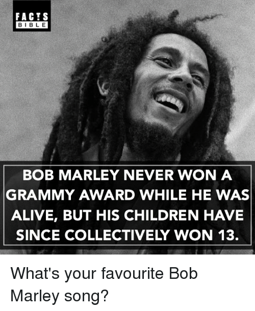 Alive, Bob Marley, and Children: FACTS  BIBLE  BIBLE  BOB MARLEY NEVER WON A  GRAMMY AWARD WHILE HE WAS  ALIVE, BUT HIS CHILDREN HAVIE  SINCE COLLECTIVELY WON 13. What's your favourite Bob Marley song?